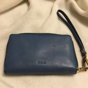 Fossil blue leather cell phone wallet.